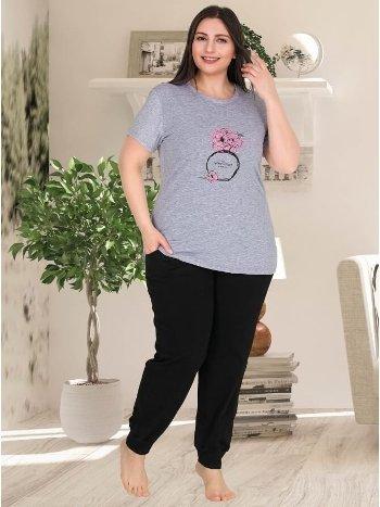 Kısa Kollu Cepli Büyük Beden Kadın Pijama Takımı Lady 10771