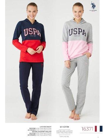Kışlık Kapşonlu Bayan Pijama Takımı US Polo 16371