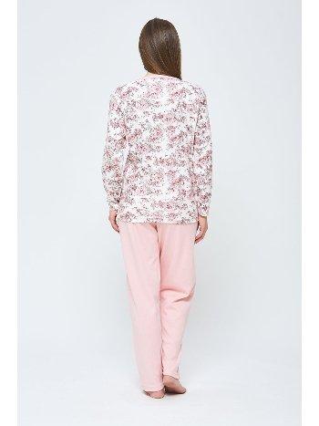 Kışlık Penye Büyük Beden Pijama Takımı Pudra Estiva 20314