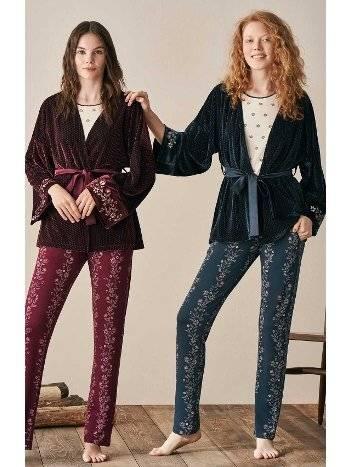 Kolları Dantel Çiçek Desenli Kadife Sabahlıklı Pijama Takımı Feyza 3925