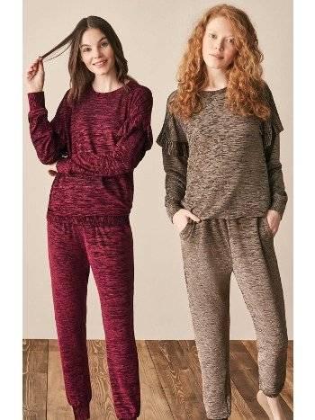 Kolları Fırfır Kadife Pijama Takımı Feyza 3943