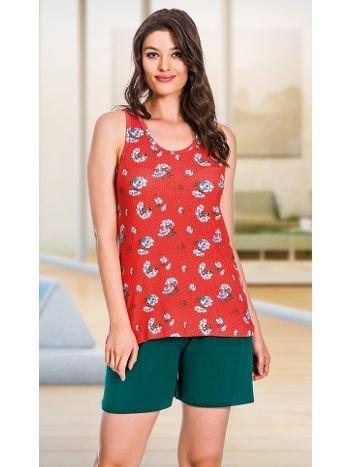 Lady Asklı Kırmızı Şortlu Pijama Takım 7656