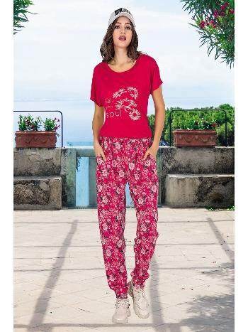 Lady Çiçek Desen Fuşya Bayan Şalvarlı Pijama Takım 10031
