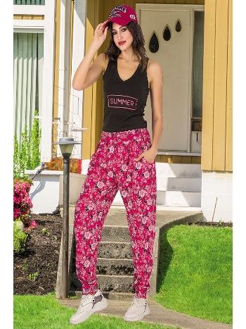Lady Çiçek Desen Fuşya Kahve Bayan Şalvarlı Pijama Takım 10033