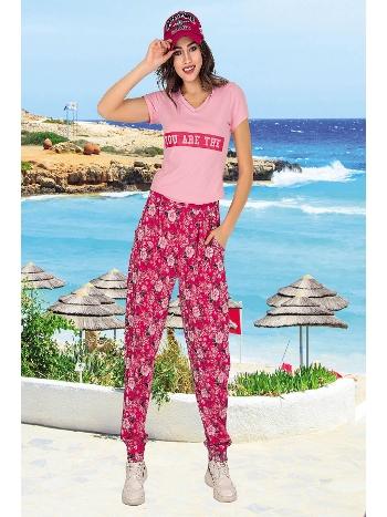 Lady Çiçek Desen Fuşya Pembe Bayan Şalvarlı Pijama Takım 10032