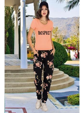Lady Çiçek Desenli Şalvarlı Bayan Pijama Takım 10005