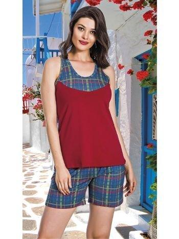 Lady Ekose Desenli Askılı Şortlu Pijama Takım 7618