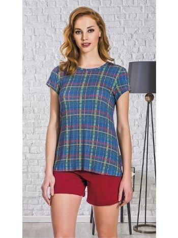 Lady Ekose Kısa Kol Şortlu Pijama Takım 7619