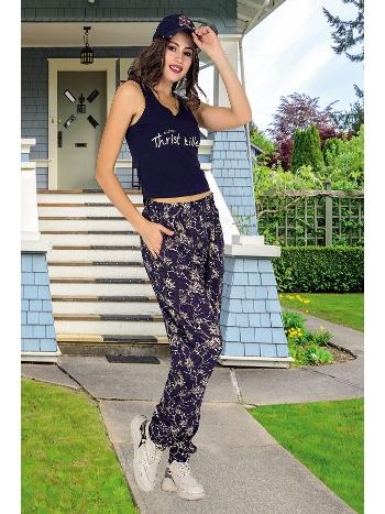 Lady Geniş Askılı Lacivert Şalvarlı Bayan Pijama Takım 10008