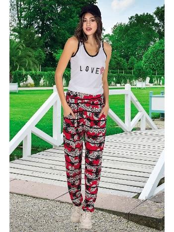 Lady Karışık Çiçek Desenli Bayan Şalvarlı Pijama Takım 10038