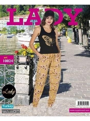 Lady Kelebek Kısa Kol Şalvarlı Pijama Takım 10024