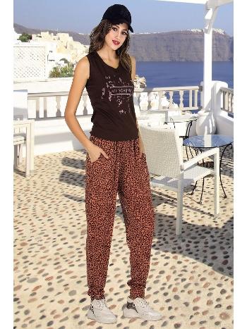 Lady Leopar Desenli Şalvarlı Bayan Pijama Takım 10002
