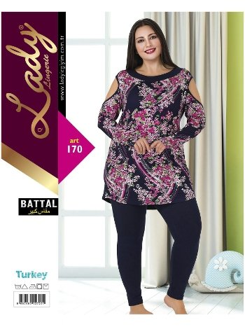 Lady Omuz Kenarları Açık Büyük Beden Pijama Takım 170