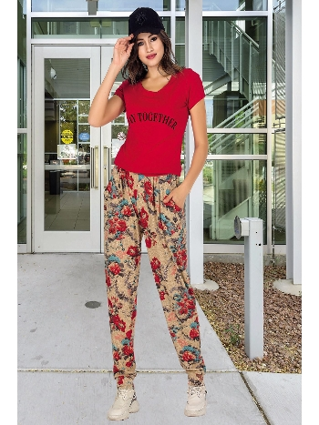 Lady Şalvarlı Kırmızı Bayan Pijama Takım 10000