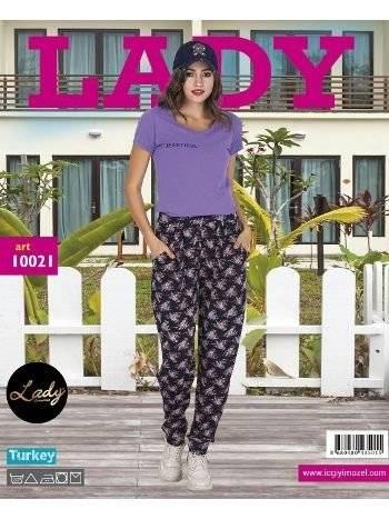 Lady Beatiful Desen Bayan Şalvarlı Pijama Takım 10021