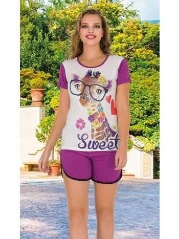 Lady Sweet Kısa Kollu Şortlu Pijama Takım 7503