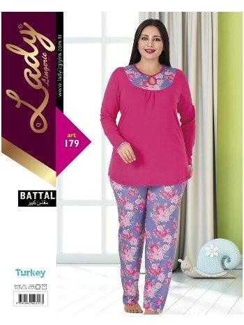 Lady Uzun Kollu Büyük Beden Pijama Takım 179
