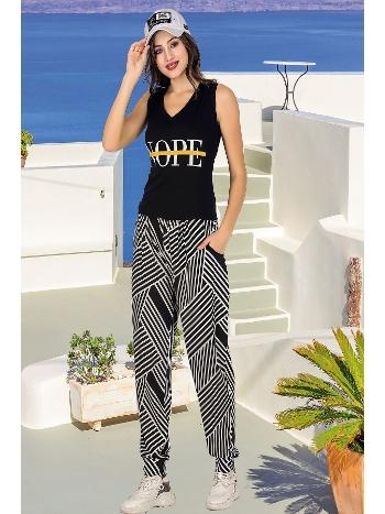 Lady Zebra Desen Siyah Bayan Şalvarlı Pijama Takım 10035