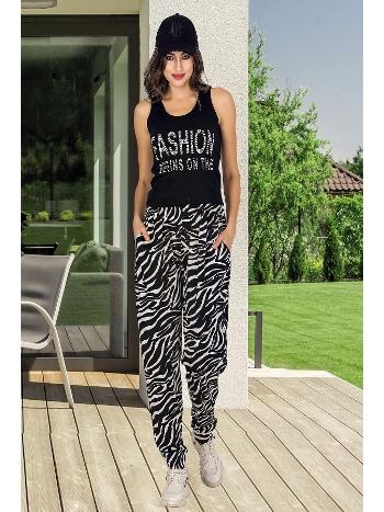 Lady Zebra Desenli Şalvarlı Siyah Bayan Pijama Takım 10004