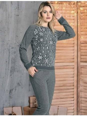 Kar Tanesi Desen Kışlık Pijama Takım Dowry 40-217