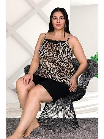 Leopar Desenli Büyük Beden Şort Takım Lady 10306