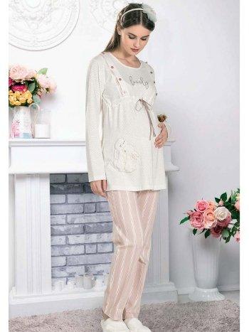 Lovely Tavşanlar Lohusa Hamile Pijama Takımı FLZ 24-342