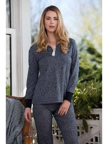 Mavi 2'li Viskon Kadın Pijama Takımı Yeni İnci BPJ1644