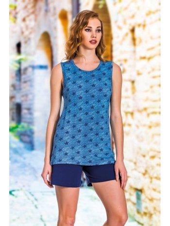 Mavi Yıldız Desenli Kalın Askılı Tunik Şort Takımı Lady 7386