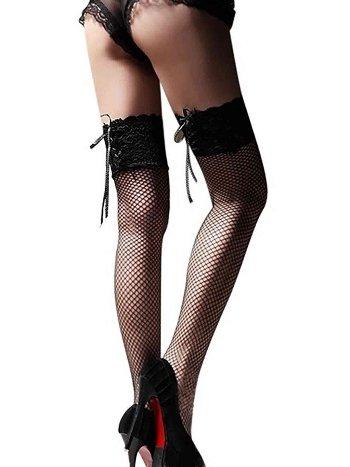 Merry See Özel Tasarım Kurdelalı Danteli File Jartiyer Çorap Siyah
