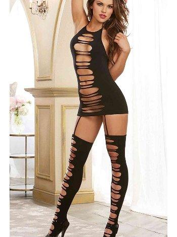 Merry See Seksi Vücut Çorabı Siyah