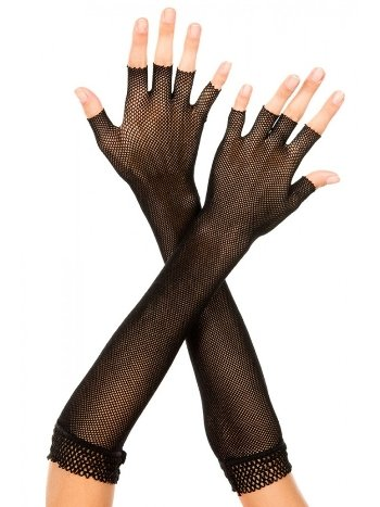 Merry See Siyah Yarım Parmak File Uzun Eldiven