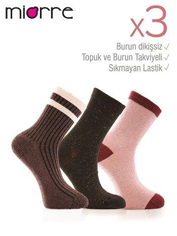 Miorre 3lü Bayan Simli Çorap