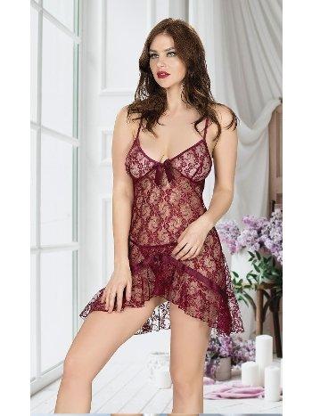 Dantelli Bordo Erotik Gecelik Miss Dore 4011