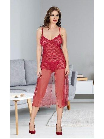 Kırmızı Dantelli Erotik Gecelik Takım Miss Dore 4205