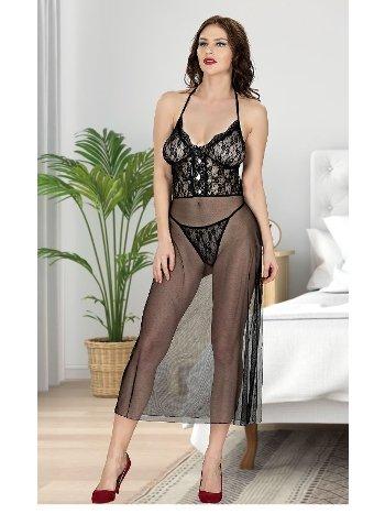 Dantelli Uzun Siyah Gecelik Takım Miss Dore 4210