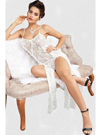 Mite Love Beyaz Dantelli Uzun Gecelik Fantazi Giyim ML-2208