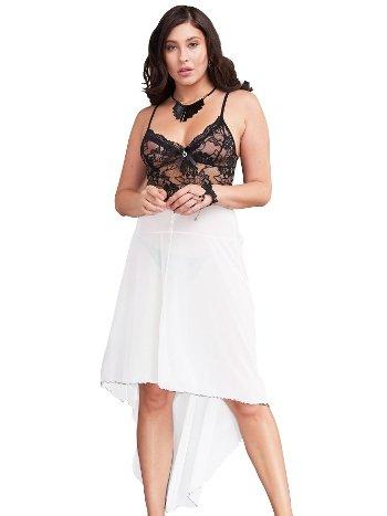Mite Love Dantel Gecelik Uzun Beyaz Seksi Giyim ML-9610