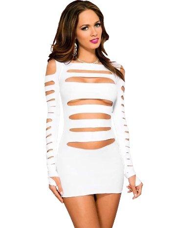 Mite Love Fantazi Elbise Lazer Kesim Beyaz ML-9498