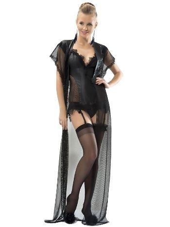 Mite Love Fantazi Giyim Deri Gecelik Jartiyerli Takım Siyah