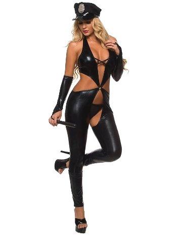 Mite Love Fantazi Polis Kostüm Siyah Deri ML-9446