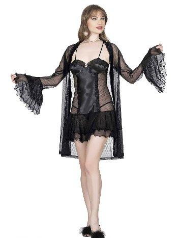 Mite Love Kadın Gecelik Sabahlık 3lü Takım Siyah ML-9755