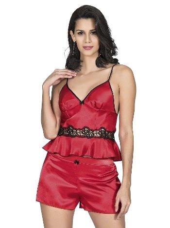 Mite Love Kadın Pijama Şortlu Saten Takım Kırmızı ML-9759