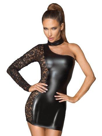 Mite Love Kadın Siyah Dantel Detaylı Tek Omuz Deri Fantezi Elbise ML-9847