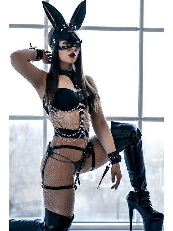 Mite Love Kadın Siyah Zincir Detaylı Maskeli Fantezi Jartiyer Takım ML-9862