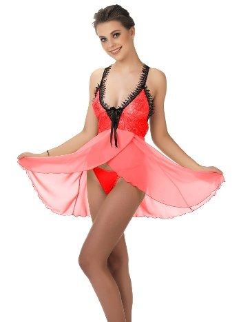 Mite Love Kırmızı Babydoll Dantelli Tül Gecelik Fantazi Giyim ML-9566