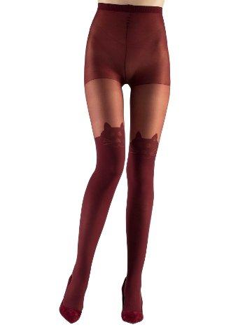 Mite Love Külotlu Çorap Kedi Desenli 15 Denye Bordo ML-9694