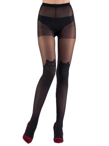 Mite Love Külotlu Çorap Kedi Desenli 15 Denye Siyah ML-9695