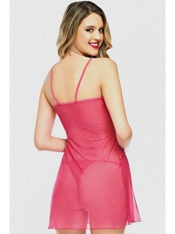 Mite Love Pembe Renk Tül Gecelik Seksi Kadın Giyim ML-2192