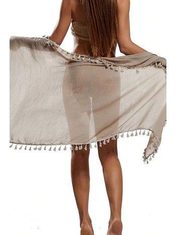 Mite Love Püsküllü Kahverengi Pareo Plaj Giyim ML-5524