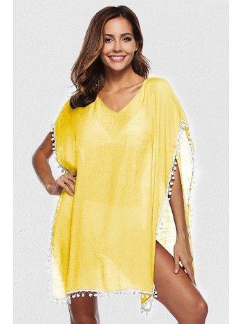 Mite Love Sarı Pareo Seksi Plaj Elbisesi Ponponlu ML-5529